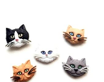 Cat Magnets, Cat Heads, Face, Kitties, Kitty, Refrigerator, Fridge Magnet, Cat Lover's Gift, Kitchen Decor, Office Decor