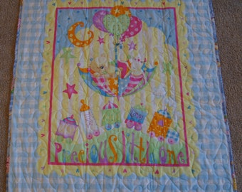Precious Little One - BABY QUILT – Blue & Yellow