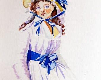 Handgeschilderde kaart historische mode. Dame in blauwwitte 18 de eeuwse japon