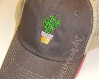 Ladies Trucker Hat Cactus Mini Design Mesh Back Baseball Cap Hat Mom Bridesmaid Bride Bachelorette Beach