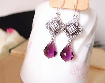 Swarovski amethyst crystals-aged silver brass-art nouveau floral-dangle-Victorian-earrings