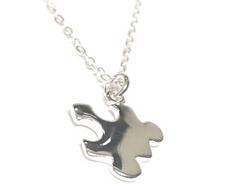 Autism Necklace . Personalized Necklace . Autism Awareness Jewelry . Puzzle piece necklace . Silver Necklace . Puzzle piece