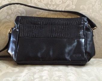 Vintage Black Shoulder Bag, Black Leather Bag, Black Shoulder Bag, Vintage Shoulder Bags, Black Leather Purse, Black Leather Handbag, 1980's
