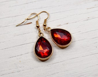 Power Red Jewel Earrings, Bright Red Rhinestone Teardrops, Estate Style Jewelry, Gold Dangles