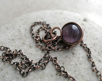 Amethyst Wire Wrapped Pendant, February Birthstone Gift, Crown Chakra Jewelry, Sterling Silver, Copper, Dainty Gemstone Pendant, Yoga Gift