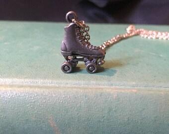 "Vintage Roller Skate Pewter Hand Polished Pendant Necklace 1"" tall x 1/2"" wide, Roller Skate Charm in Original Box"