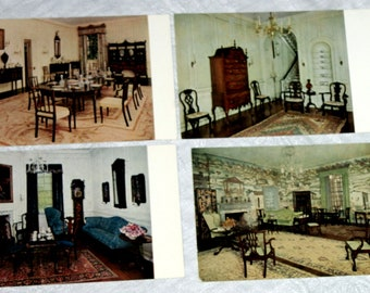 Four vintage postcards: Photos from Winterthur Museum in Delaware, Photo by Gilbert Ask, printed by Beck Engraving in Philadelphia, PA