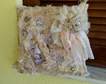 Vintage Inspired Ivory Dusty Pale Pink Pillow Case - Shabby Chic Pillow decorated with romantic 3D fragments, Shabby pillow, Pillow cover