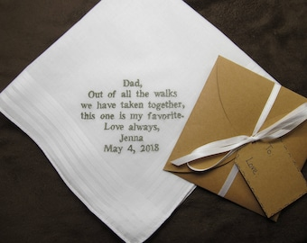 Father of the Bride - Personalized Wedding Handkerchief With Free Gift Envelope - Shown with Grey Non Script Writing