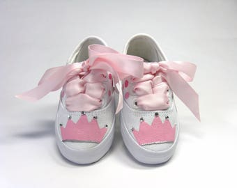 Princess Shoes, Pink Crown or Tiara With Crystals Hand Painted on White  Sneakers for Baby