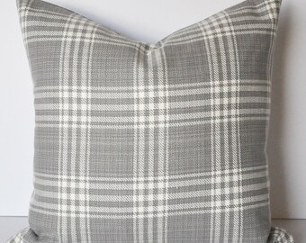 PLAID PILLOW COVER // Gray and White Plaid, Buffalo Plaid, Gray Plaid, Plaid Pillow, Fall Decor