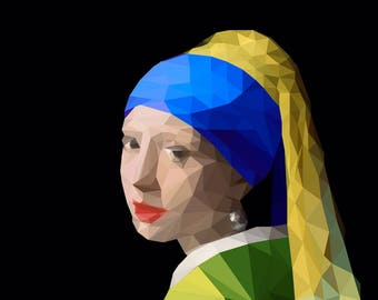 "Wall art, decor, ""Girl with a pearl earring"" in 3 different colours, PRINTABLE , low poly, Geometric patterns, Minimalistic art"