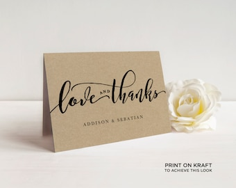 Love and Thanks Folded Card Editable Template | Thank You Card, Hand Lettered, Calligraphy Kraft | Wedding  5x3.5"