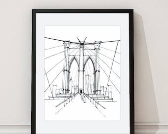 Brooklyn Bridge Print - Brooklyn Bridge Architectural Print - New York Wall Art - New York Architectural Drawing - Grey - Aldari Art