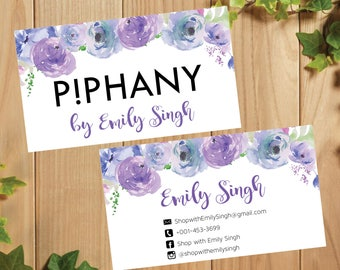 PRINTABLE Piphany Business Card, Piphany Business Card, Floral Business Cards, Digital File PI002