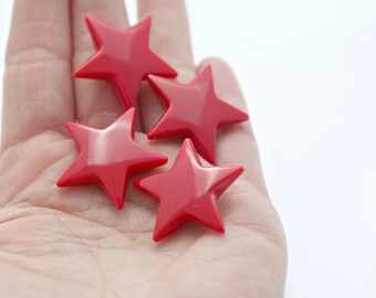 Vintage Red Lucite Star Beads 28mm (8)