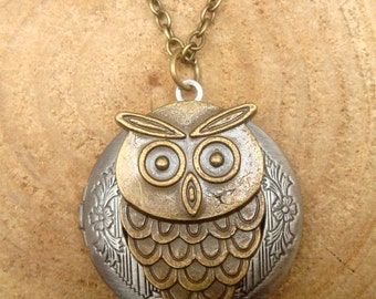 Owl Locket Necklace Victorian Jewelry Gift Vintage Style