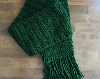 Handmade Crocheted Thick Fringed Scarf, Warm, Cozy, Winter, Heavyweight, Wide, All Proceeds Donated to Charity! FREE SHIPPING