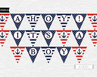 Nautical baby shower banner nautical Ahoy Its a boy baby shower banner printable banner digital boy banner red navy nautical shower PDNMO106