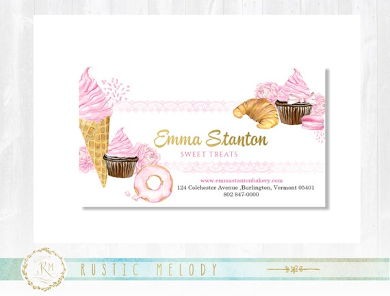 Premade bakery business card gold business card cake colourmoves