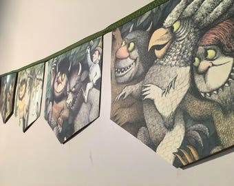 Where the Wild Things Are Book Banner • handcrafted in 2-3 days • eco repurposed • wild one birthday theme • Wild One Banner • Wild Things