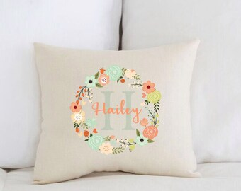 Unique baby gift etsy unique baby gift birth announcement personalized baby pillow coral flower wreath negle Choice Image