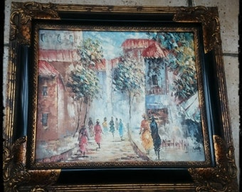 Antique Framed Original oil painting -Artist Signed, Impressionism,Paris,France,Colorful autumn in the city,High Street