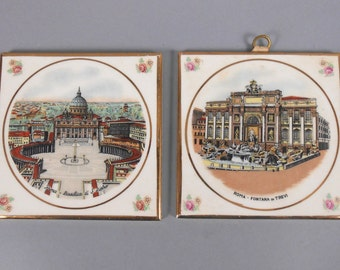 Rome Italy Souvenir Tiles Trivets Wall Hanging Trevi Fountain St Peter's Basilica