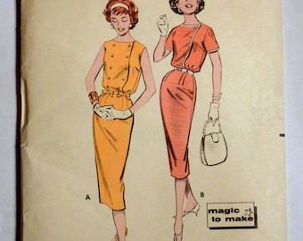 Butterick 1950s Sewing Pattern 8591 Sheath Dress Size 14 Bust 34