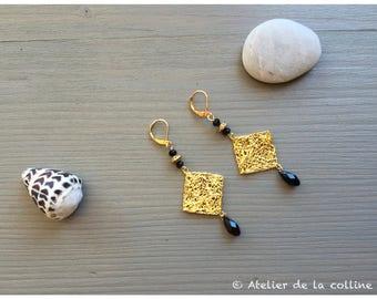 Art deco earrings with Swarovski crystal Jet