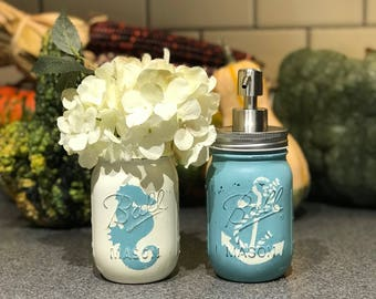 Nautical Mason Jar Soap Dispensers