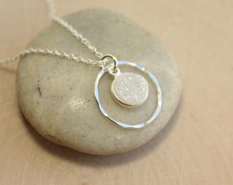 Sterling Silver Arora Borealis Druzy Inside Hammered Eternity Circle Necklace