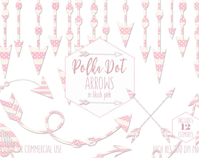 BLUSH PINK ARROW Clipart for Commercial Use Planner Clip Art Tribal Arrow Border Baby Girl Banner Pink Polka Dot Boho Chic Digital Graphics