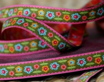 Pink floral Ribbon border farbenmix 12mm by the yard