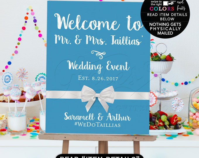 Welcome wedding sign, wedding reception, wedding printable digital poster signs, customizable text and colors, breakfast at themed.