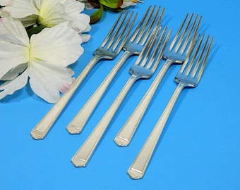 Five Rogers Bros Art Deco Silverplate Dinner Forks 1923 Anniversay Pattern