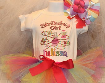 Candyland Birthday Outfit, Girls Candyland, Custom Candyland, Rainbow Birthday, Birthday Tutu, Candy Land Birthday