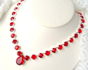 Ruby red rhinestone statement necklace / July birthday gift / Swarovski crystal / Bridal / Tennis necklace / gift for her / prom jewelry