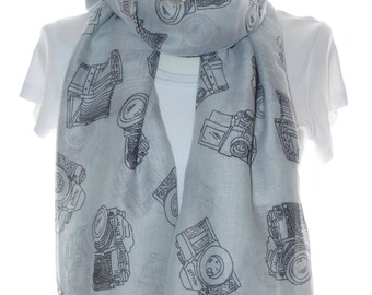 Grey camera Scarf shawl, Beach Wrap, Cowl Scarf,Grey camera print scarf, cotton scarf, gifts for her