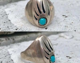 Native American sterling silver turquoise bear paw men's vintage southwestern southwest ring size 15