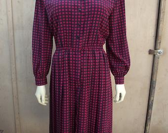 Schrader petite 10 Vintage dress Polka Dot Rockabilly Work
