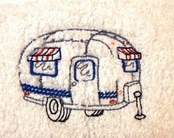 Airstream Vintage Trailer Embroidered Hand Towels Set of 4