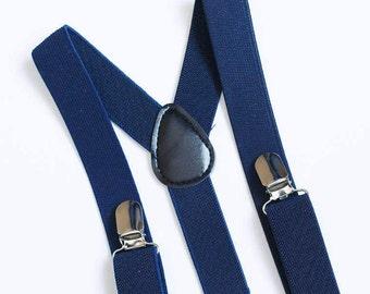Navy Blue suspenders Toddler suspenders Boys suspenders Baby boy suspenders Ring bearer outfit Wedding suspenders Wedding outfit Boys braces