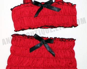 Children's Red Two Piece Ruffle Tankini Set