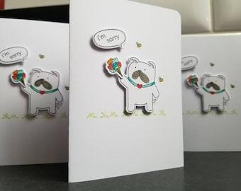 Sorry Card for Dog Lover, Bulldog Forgive Me Card, Apology Card for Boyfriend, Card for Husband, Friendship Card, Dog Greeting Card