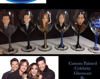 Celebrity Caricature Wine Glass Painted