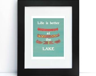 Lake House Decor, Printable Art, Canoe Painting, Aqua Beach Decor, Lake House Print, Cabin Decor, Housewarming Gift, Printable Poster
