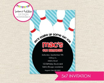 Bowling Birthday, Bowling Birthday Invitation, Bowling Printables, Bowling Birthday Decorations, Lauren Haddox Designs