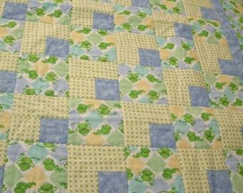 Froggy's Around the Corner Baby Crib Quilt and Matching Diaper Bag