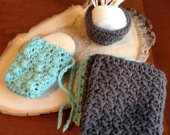 Crocheted Bath Set - Charcoal and Aqua